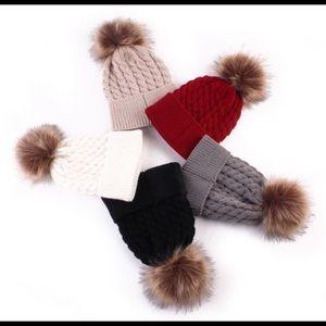 Other - Knitted Pom Pom Baby Beanie Hat - New